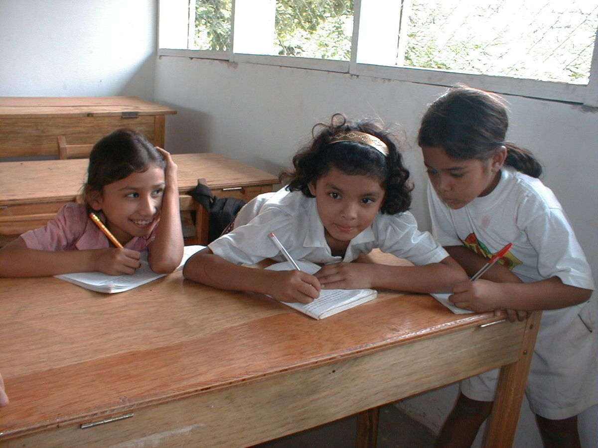 3 School Girls Studying