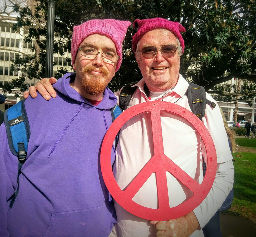 Sacramento Women's March men wearing pussyhats