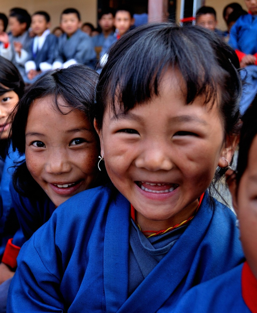 Smiling Bhutanese school children