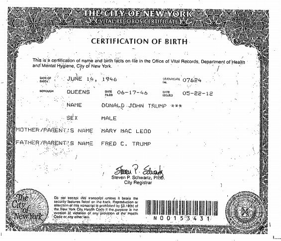 Trumps birth certificate
