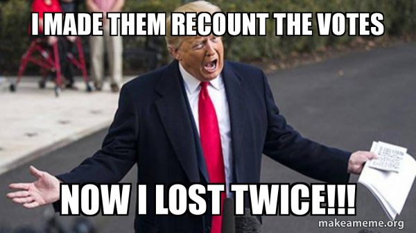 Trump crying he lost twice